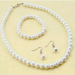 Wholesale Cheap Men Bracelets Crosses - new fashion hot sale 2015 man-made cheap 8mm Pearl Necklace+Bracelet+ Earring 3 piece bride Jewelry Set free shipping
