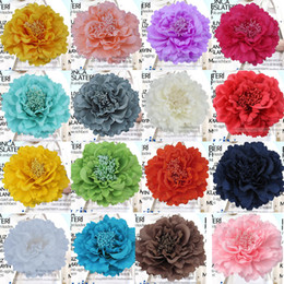 Wholesale Wholesale Fabric Flower Clip Brooch - bride peony flower corsage brooch pins fabric large female head lace clip hair accessories seaside resort beach Wedding dress women jewelry