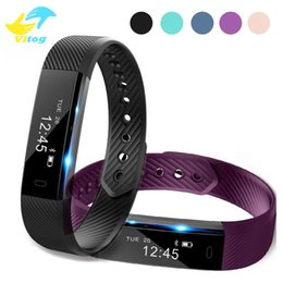 Wholesale Fitness Wrist Bands - ID115 Smart Bracelet Fitness Tracker Step Counter Activity Monitor Band Alarm Clock Vibration Wristband for iphone With TianTian APP