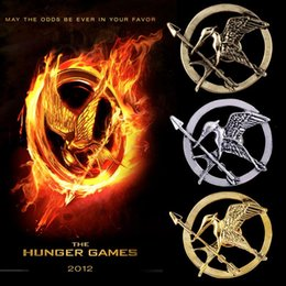 Wholesale Pins Movie - DHL 3 Color The Hunger Games Brooches Inspired Mockingjay And Arrow Hot Movie Hunger Games Bird Brooch Pins For Women And Men B