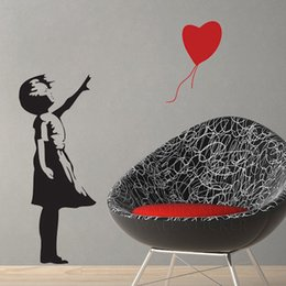 Wholesale Banksy Stickers - Banksy Style Balloon Girl 'There is always hope' Wall Stickers Vinyl Decal Wall Decor 100*120CM Free shipping