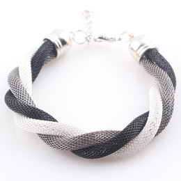 Wholesale Mesh Chain Bracelets - Wholesale-Fashion Multi Colors Metal Chain Braided Bracelet Women Friendship Mesh Bracelet Bangles Femininas Bijuterias JJAL B333