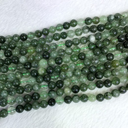"Wholesale Genuine Crystal Jewellery - Natural Genuine Brazil Green Needle Rutitle Quartz Crystal Round Jewellery Loose Ball Beads 6-12mm 15.5"" 05400"