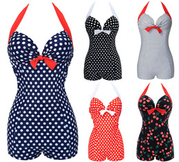 Wholesale polka dots swimsuits - NWT Hot Sexy Women Vintage Style One piece Dot Print Bow knot Sweetheart Swimsuit Push Up Strappy Plus Size M~3XL