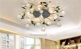 Wholesale Crystal Glass Lamp Shades Pendant - Crystal Leaves Aluminium Glass Balls Shade Ceiling Light Pendant Lamp Chandelier LYH140