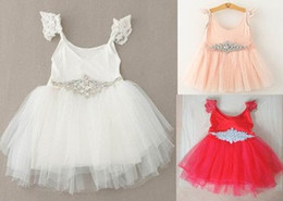 Wholesale Belts Rhinestones Wholesale - Girls Xmas party dress summer children lace fly sleeve tulle tutu dress lace Rhinestone belt kids party dress A6752