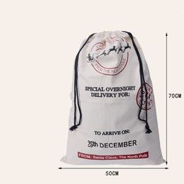 Wholesale Packing Materials - Christmas Canvas Santa Sack Cotton Material Christmas Gift Bag For Christmas Gift Packing Free Express Shipping