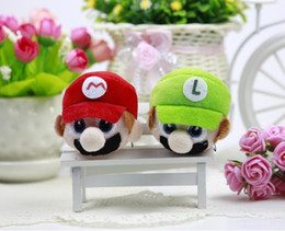 Wholesale Super Mario Brothers Plush - mario plush Cartoon action figures Stuffed Plush Toys Mario Brothers stuffed toys Super Mario Stuffed Super Mario head pendant Keychain