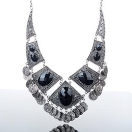 Wholesale Vintage Bib Choker Statement Necklace - 1PC NEW Fashion Black Tribal Silver Vintage Coin Belly Tassel Dance Statement Bib Choker Necklace Chain Jewelry Gifts Free