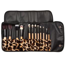 Wholesale Pro Kit Tool Case - Leopard Case Pro Makeup Brushes Cosmetic Brush Set Makeup Tools Make-up Kit Wool Brush Brand Make Up Brush Set 12pcs set