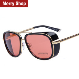 Wholesale Iron Man Sports Sunglasses - 2015 IRON MAN 3 Matsuda RAY TONY Steampunk Sunglasses Men Mirrored Designer Brand Glasses Vintage Sports Sun glasses