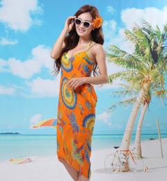 Wholesale Beach Wrap Skirt Sexy Bikini - New arrival Floral beach dress Cover-Ups Swimwear clothes Bikini Veil shawl skirt Wrap Sarong Sexy 20pcs lot #3831