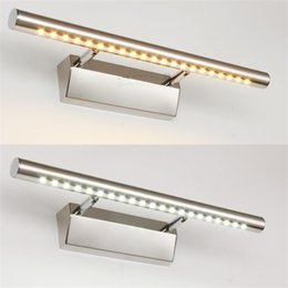 Wholesale Stainless Steel Mirrored Cabinet - 5W 7W 9W Led Lens headlight Led Wall Lamp stainless steel cabinet mirror light lamps Waterproof bathroom bedroom wall lamps 40 55 70cm