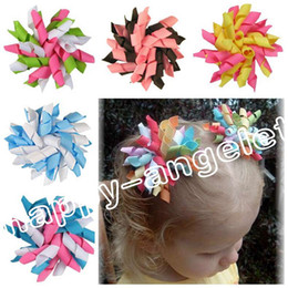 Wholesale Multi Ribbon Hair Bow - 20pcs Children's baby curlers ribbon hair bows flowers clips corker hair barrettes korker ribbon hair ties bobbles hair accessories PD007