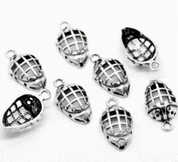 "Wholesale Helmet Horns - Fashion Jewelry 30 Silver Tone Hockey Helmets Charms Pendants 26x13mm(1""x1 2"") For Hand Made jewelry pendant settings"
