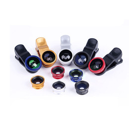Wholesale Mobile Fish Eye - 3 In 1 Clip-on Fish Eye Macro Wide Angle Kit Mobile Phone Camera Lens for iPhone 6 Plus 5 4 Samsung S5 S6