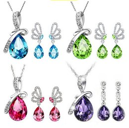 Wholesale Stainless Steel Jewelry Necklaces - FASHION JEWELRY Angel Tears Austrian crystal necklace earrings jewelry sets for women High quality 2 pieces set