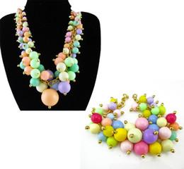 Wholesale Bib Bracelets - fashion women trendy candy colorful multilayer ball chain choker bib statement necklace bracelet set jewelry sets