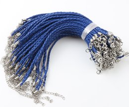Wholesale Diy Silver Chains - 100pcs lot Royal Blue Leather Braided Charm Bracelet For Bead lobster Clasp Chains Jewelry DIY 0.3x20cm
