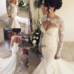 Wholesale Keyhole Front Wedding Dress - Sexy Keyhole Mermaid Wedding Dresses with Long Sleeve Jacket 2018 Modest Hollow Out Sweetheart Fishtail Custom Make Lace Floral Wedding Gown