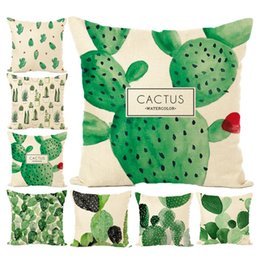 Wholesale Car Seat Cushions Brown - Cactus Water Color Cushion Cover Fashion Africa Tropical Plant Cushion Covers Cactus Pillowcase Seat Decor Car Chair Office AL001