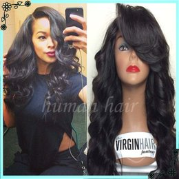 Wholesale Long Dark Brown Hair Curled - 100% Virgin Hair Glueless Full Lace Wigs Human Hair Brazilian Loose Curl Wave Natural Color Lace Wigs