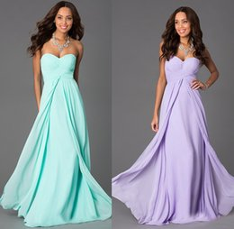 Wholesale Cheap Lilac Long Bridesmaid Dresses - 2016 Bridesmaids Dresses New Lilac And Mint Green Chiffon Empire Chiffon Wedding Guests Gowns Sweetheart Lace Up Dress To Party Cheap Price