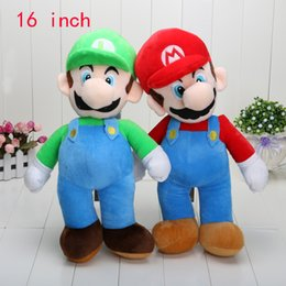 "Wholesale New Mario Toys - 16"" New Super Mario Bros. Stand MARIO & LUIGI 2 pcs Plush Doll Stuffed Toy Retail & Wholesale"