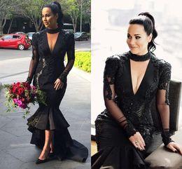 Wholesale Kim Kardashian Inspired Dress - kim kardashian Black Deep V Neck Prom Dresses 2018 Plus Size Halter Lace Appliques Evening Gowns Satin High Low custom make