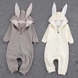 Wholesale Rabbit Animal Onesies - Baby Jumpsuits Bodysuits Clothes Spring Autumn Newborn Rabbit Ears Onesies Rompers Infants Toddlers Cotton Long Sleeve One-piece Clothing