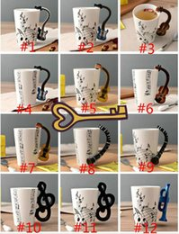 Wholesale Wholesale Ceramic Mug Printing - Music Ceramic Cup Guitar mug Creative Print Flute Piano Coffee Mugs Home Office Drinkware 14 Types 300ml Personality Milk Juice Mug