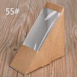 Wholesale Disposable Foldable - Creative Kraft Paper Sandwich Box Eco Friendly Disposable Cake Dessert Box Foldable Takeaway Food Package 100pcs lot SK731
