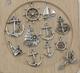 Wholesale Mixed Tibetan Silver Pendant Charms - Hot sell ! 110pcs Tibetan Silver Mixed Sailing, anchor, rudder Charm Pendant Jewelry DIY 11 - style (350)