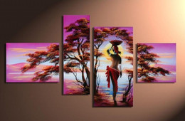 Wholesale Girls Hand Mirror - Hand-painted Hi-Q modern home abstract landscape oil-painting on canvas--African girl-trees 4pcs set framed