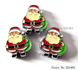 Wholesale Wholesale Rhinestone Charm Sliders - Brand new 50pcs 8mm Christmas Santa Claus Slide Charms with full rhinestones fit for 8mm wristbands or Pet Collars