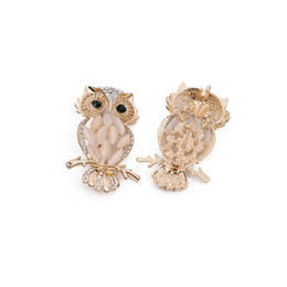 Wholesale Owl Accessories For Girls - Cartoon Owl Shaped Opal Rhinestone Brooch 6*3.5cm Gold Suit Lapel Pin for Women Girls Fashion Jewelry Gift Party Accessories