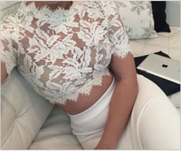 Wholesale Fashion Show Clothing - Special Offer Short Floral Fashion Stand Cropped Crop Top Plus Size Women Clothing Sexy Show Thin Eyelash Lace Tops free shipping