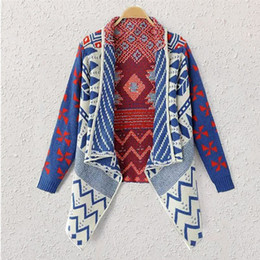 Wholesale Patterned Knitwear - Wholesale- Brand Autumn Winter Geometric Pattern Women Knitted Coat Sweater Ladies Cardiga feminino Clothes Shrug Poncho Knitwear JY-551