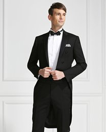 Wholesale Tailcoat Bow - 2015 Handsome Black Slim Fit Groom Tailcoats Custom Made Mens Wedding Suits Prom Groomsmen Men Suits ( Jacket+Pants+Bow Tie+Hanky)