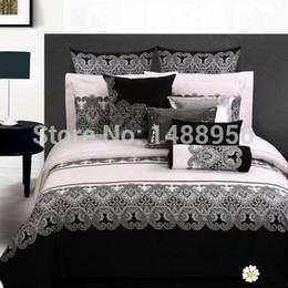 Wholesale Home Classics Duvet Cover - MFH Luxury Classic bedding sets designer bed linen Christmas duvet covers white bedclothes cotton sheets king size Quality 4pcs.