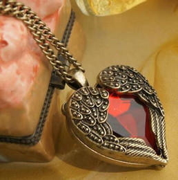 Wholesale Wings Charm Cheap - Cheap Vintage Jewelry Alloy Carved Angel Wing Red Crystal Love Heart Shape Pendant Necklace Chain Gift Retro Charm Long Necklaces Free DHL
