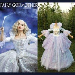 Wholesale Cinderella Costumes Adults - Wholesale-Custom Made Adult Women Oneline Fairy Godmother Dress Wig Cosplay Long Blue Cinderella Fairy Godmother Costume