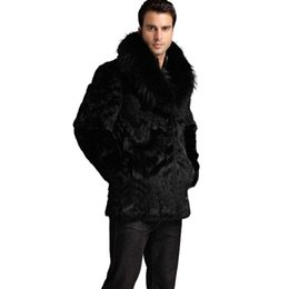 Wholesale Menswear Jacket - Wholesale- Hot sale!Winter men fashion fox fur collar faux rabbit fur coats Black luxury leather suit parka Upscale casual menswear jackets