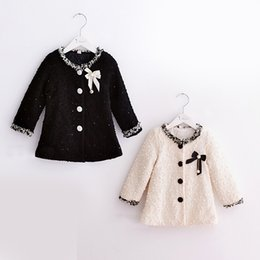 Wholesale Girl Elegant Coats - Wholesale-2015 Autumn Winter retail New Fashion girls clothes 1piece Elegant girls wool winter coats with bow Beige black girls wool coat