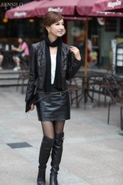 Wholesale Sheepskin Scarves - Wholesale-2015 women's sheepskin genuine leather jackets short brown black short design leather outerwear with scarf ems free shipping