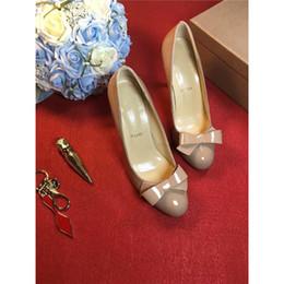 Wholesale Wedding Sneakers - Luxury Brand Nude Christian Party Shoes Spikes Red Bottom Heels Flat Women's High Top 2017Louboutin Bow Tie Heels Women Dress Sneakers