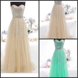 Wholesale Tulle High Neckline Prom Dresses - Evening Dresses With Sweetheart Neckline Sleeveless beaded crystal Lace-Up Back A Line Long prom party 2015 New Fashion Lace Appliques gowns