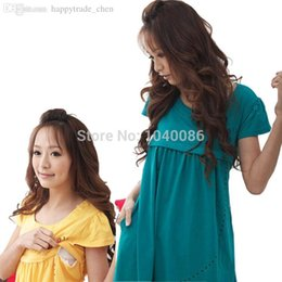 Wholesale Dresses For Feeding - Wholesale-New Maternity Summer Wear Brief Dresses Clothing Breast Feeding Clothes For Pregnant Women blouses & shirts free size 8708