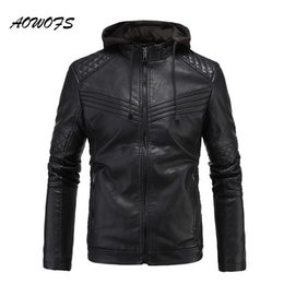 Wholesale Leather Coat Hood Men - Wholesale- AOWOFS 2017 mens leather jackets with hood slim fit flocking jackets men quilted motorcycle mens jackets and coats brand clothes