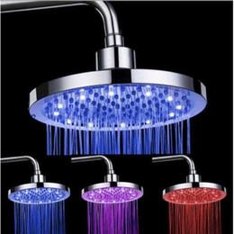 Wholesale Lighted Shower Heads Rain - Round Rain Stainless Steel Bathroom temperature change RGB LED Light Shower Head